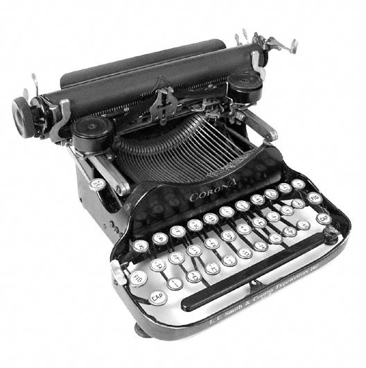 Máquina de escribir con letras del alfabeto hebreo