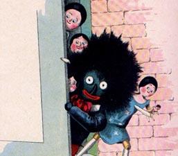 El Golliwogg y las tres muñecas holandesas. El personaje fue creado por Florence Kate Upton