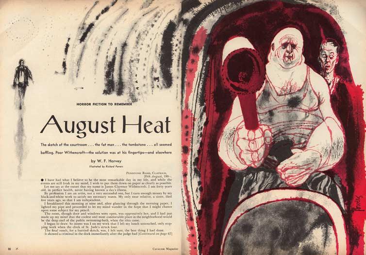 """Dos páginas de una publicación de """"El calor de agosto"""" en 1961."""