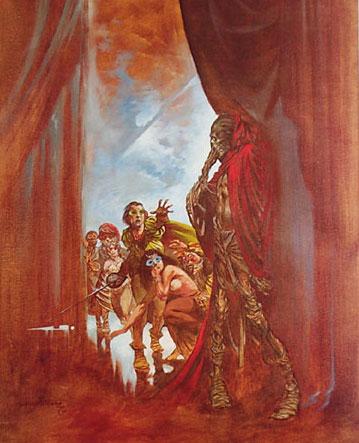 """Detalle de una pintura de Bernie Wirghtson inspirada en """"La máscara de la Muerte Roja"""""""