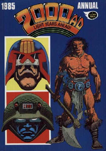 Portada del especial anual de 1985 de 2000AD, que incluye una historia temprana de Moore