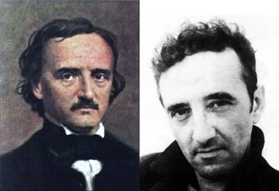 Poe (por autor desconocido) y Bolaño (tomado de Scielo.cl)
