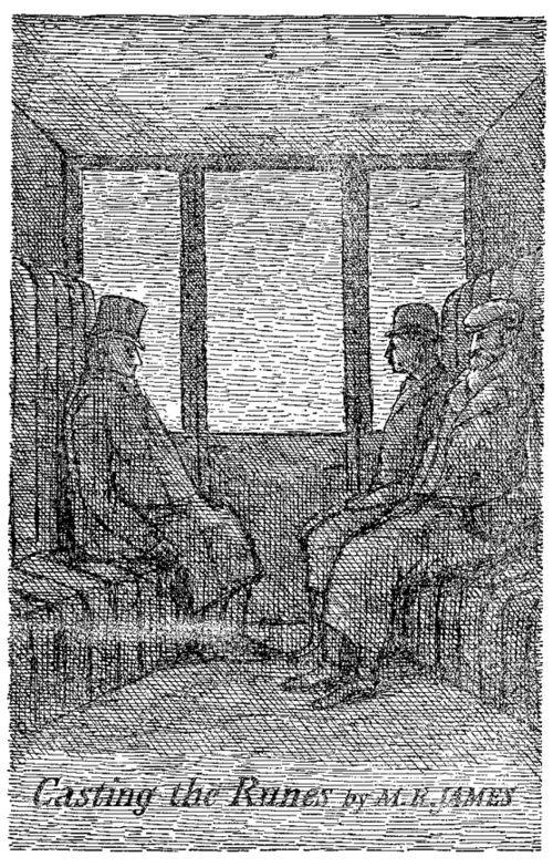 Ilustración de Edward Gorey para el cuento Casting the Runes de M. R. James; Gorey lo seleccionó para su antología The Hunted Looking Glass