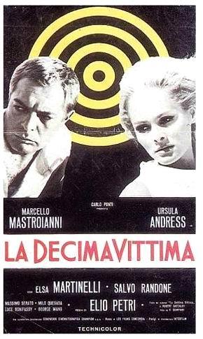 Cartel de La décima víctima, con Marcello Mastroianni y Ursula Andress
