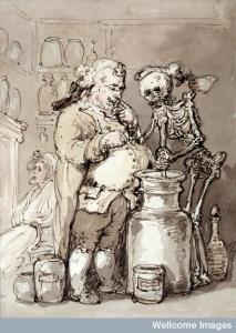 """""""La muerte como asistente de un farmacéutico"""". Acuarela atribuida a Thomas Rowlandson (1756-1827). Wellcome Library, Londres"""