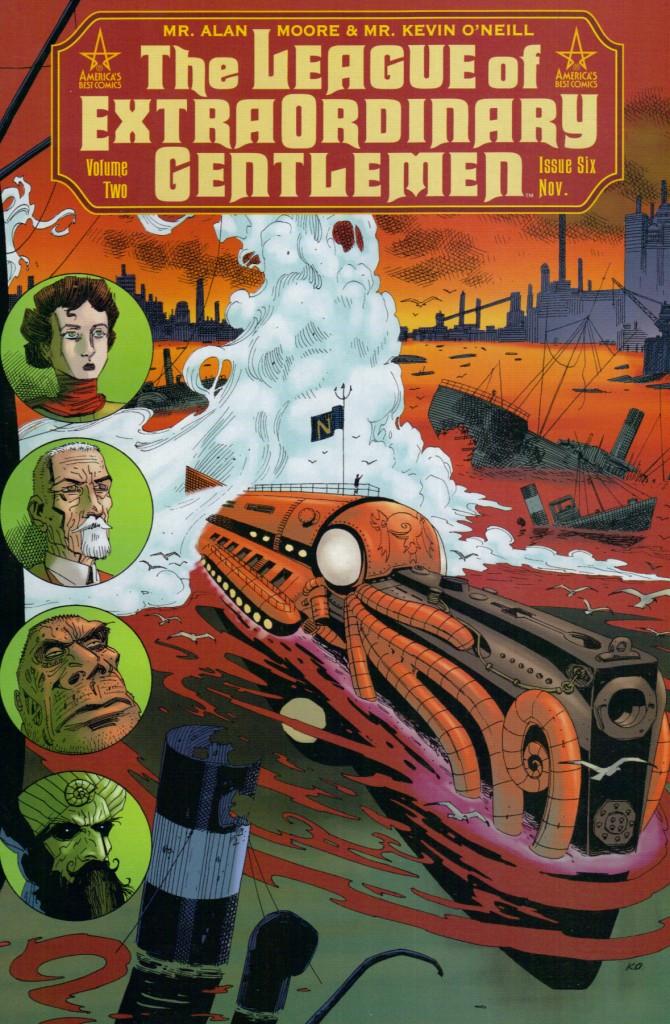 En la liga de Moore, Mina Murray, Allan Quatermain, el señor Hyde y el Capitán Nemo, respectivamente creados por Bram Stoker, H. Rider Haggard, Robert L. Stevenson y Julio Verne