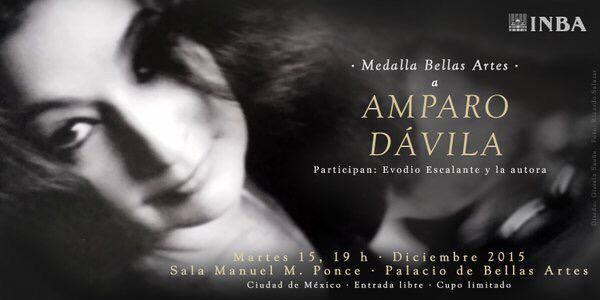 Publicidad del homenaje a Amparo Dávila