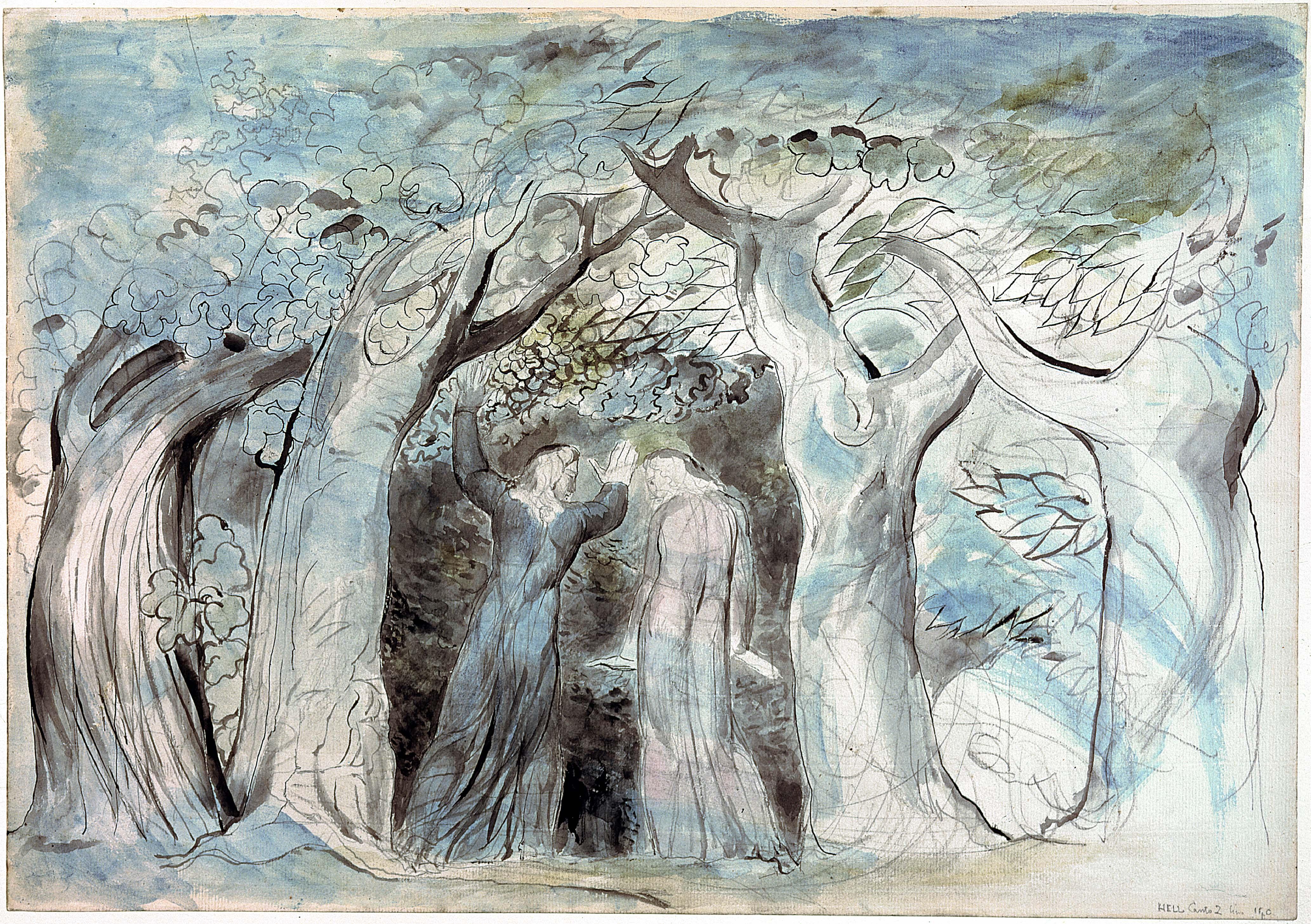 """La selva de los suicidas (imagen del """"Infierno"""" de Dante por William Blake)"""