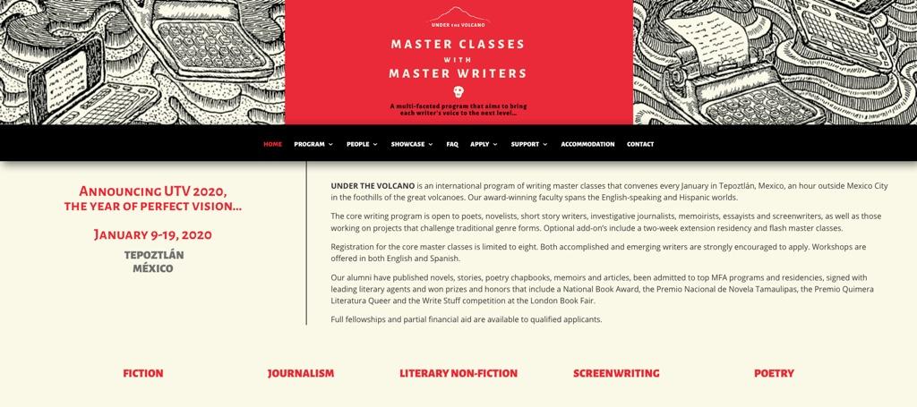 En 2020: clases de escritura en Under The Volcano